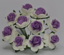 1.5cm DARK LILAC VIOLET CENTER WHITE Mulberry Paper Roses